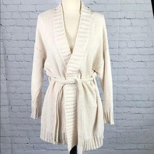 Chenille Wrap Cardigan Belted Cream White Aerie